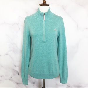 Vineyard Vines 1/4 Zip Green Teal Pullover Sweater